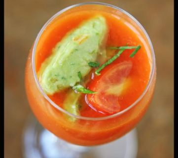 Chilled Tomato Soup with Guacamole