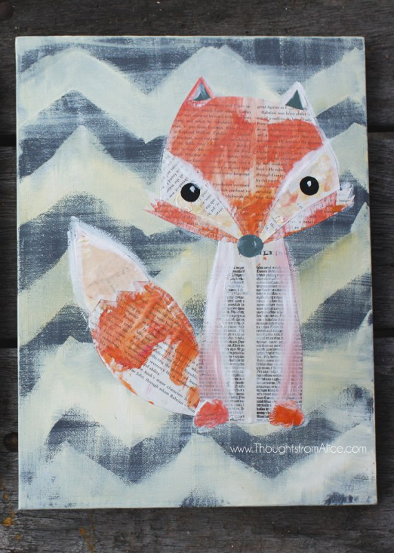 fox woodland animal collage kids can help make (Thoughts From Alice)