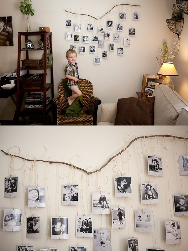 hang photos and art prints from a branch (Bre Thurston)