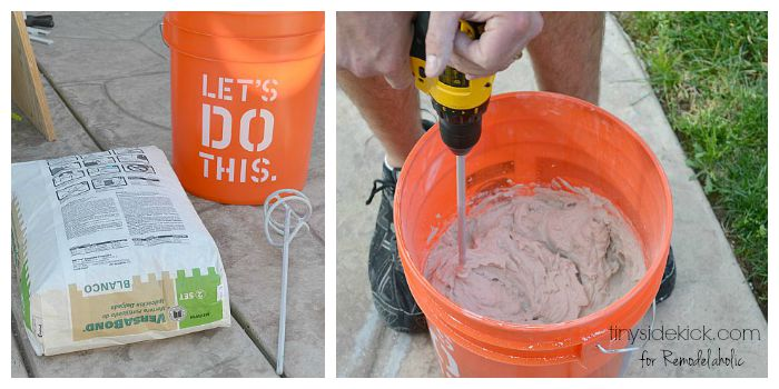 mixing the mortar