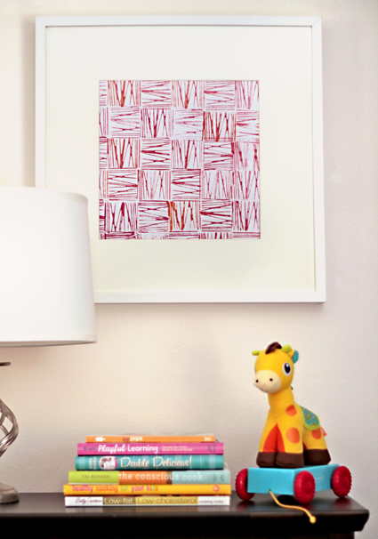Easy Art Ideas for Kids Room Decor: modern block and string printing - easy art for kids! (Modern Parents Messy Kids via WhipUp)