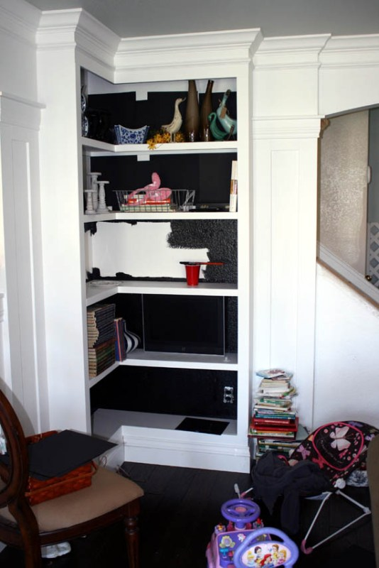 paint bookcase interiors black (test with paper first to see how you like it)