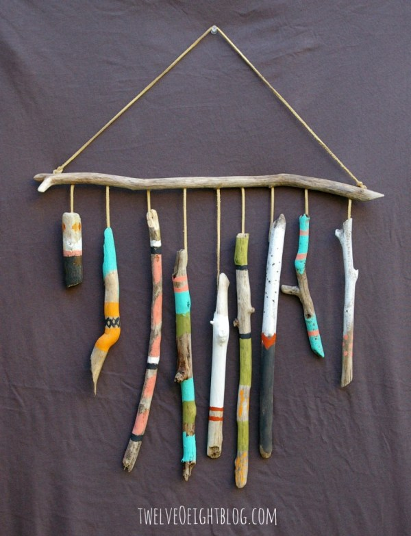 Easy Art Ideas for Kids Room Decor: painted driftwood wall hanging (twelveoeightblog)
