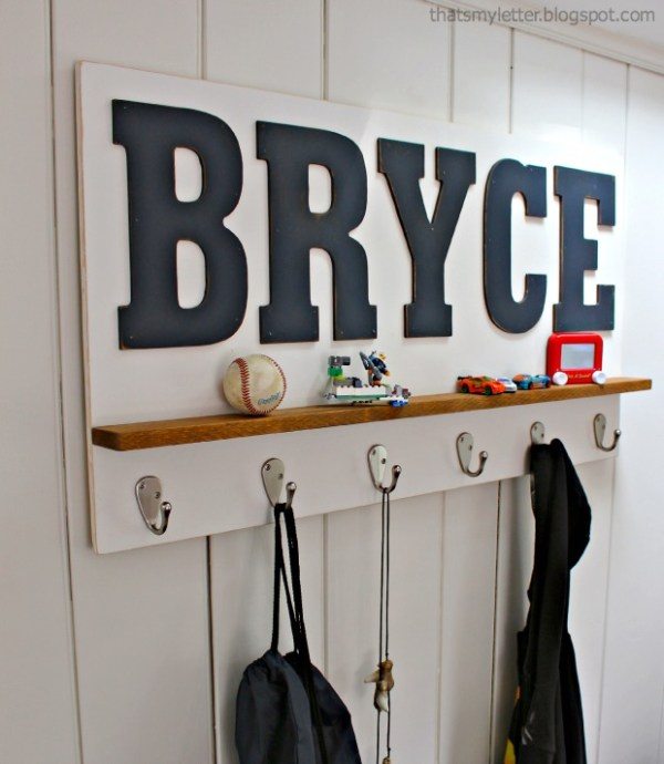 personalized wall shelf with hooks (That's My Letter)