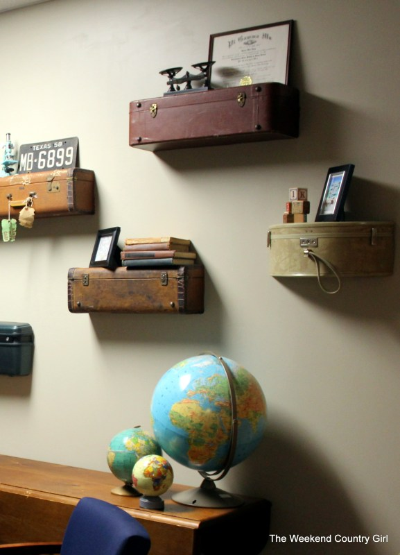 suitcase shelf wall DIY (The Weekend Country Girl)