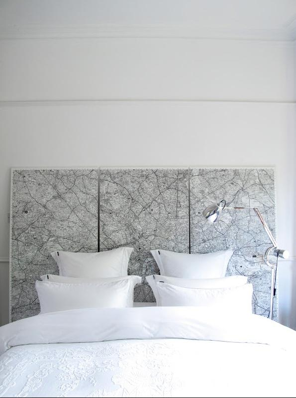 vintage maps as a headboard, could also be large wall art (via Remodelista)