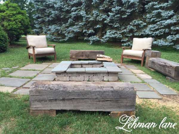 wood beam benches around the firepit, Lehman Lane