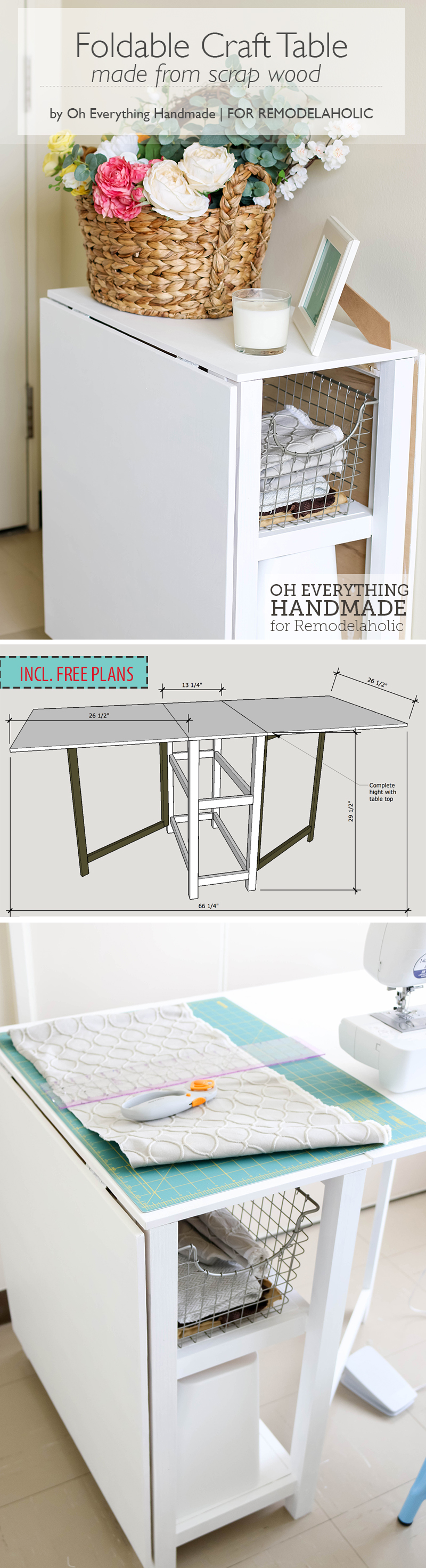 Make your small craft area work with this space-conscious DIY foldable craft table, built from inexpensive materials or even scraps. Two fold-out gate-leg dropleaf sections create a small or large workspace, with storage in the base for a sewing machine or supplies.