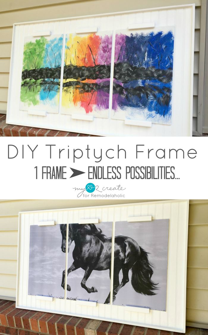 Create a large-scale and high-impact art piece for your home by building this inexpensive DIY triptych frame, featuring 3 coordinating or split art panels.
