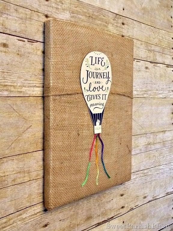DIY wall art - hot air balloon on burlap canvas Sweet Parrish Place