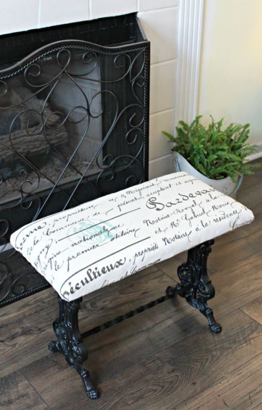 French Style Iron Bench Makeover