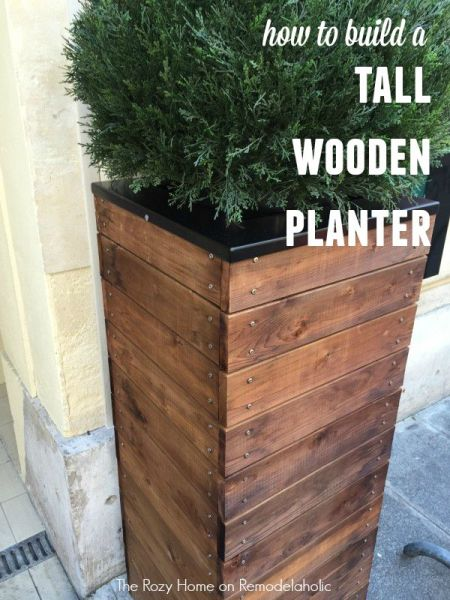 How to Build a Tall Wooden Planter with metal screw accents