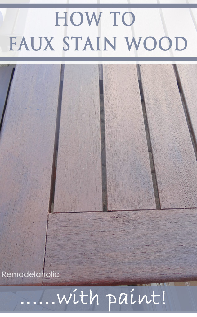 How to Faux Stain Wood with Paint | Rather than spending the time sanding or stripping old furniture finish, you can give it a new faux stain look with just paint! It's easy and will save you time while giving you the stained wood look you want.