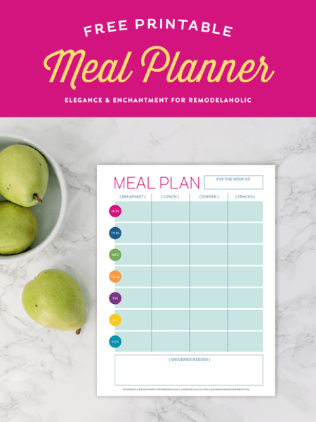 Get your school year on track with this free printable meal planner. With a space to plan all of your breakfasts, lunches, dinners and snacks, you can stay organized and disciplined to keep a healthy diet. Design by Elegance & Enchantment for Remodelaholic.