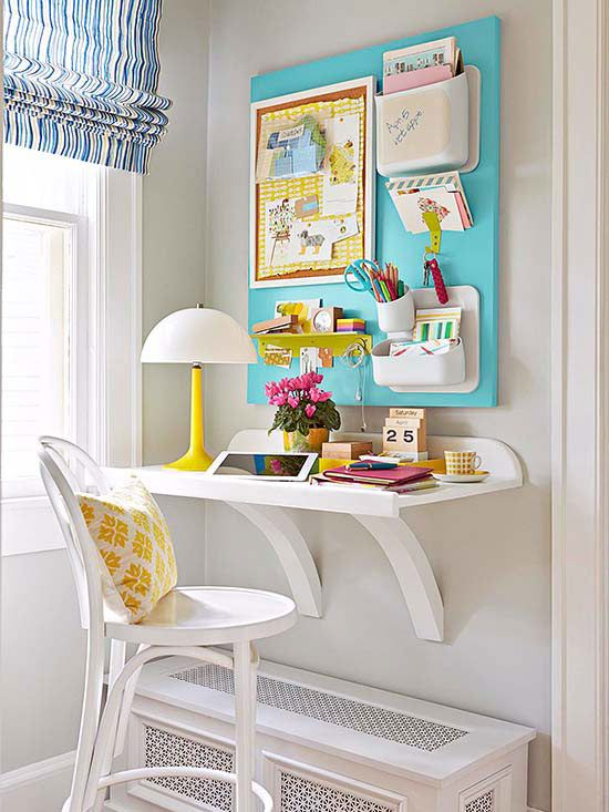A simple wall desk creates a workspace without taking up a lot of space. Get free plans to build a desk inspired by this lovely setup.