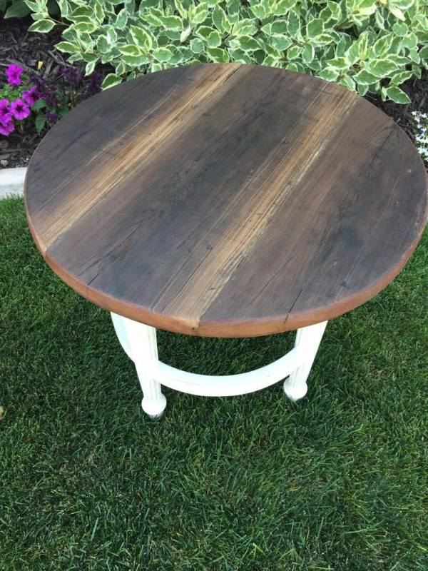 from Lori - turn a barstool into a padded outdoor swing and an end table (4)