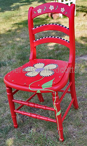 theredpaintedcottage whimsical pattern painted chair