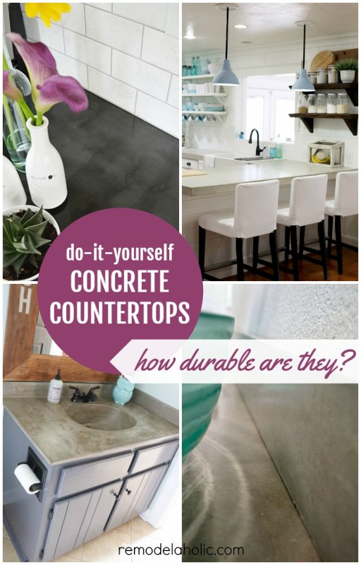 Concrete countertops are in style, on-trend and within budget! See how they hold up and if these industrial style countertops are right for you in these DIY concrete countertop reviews.