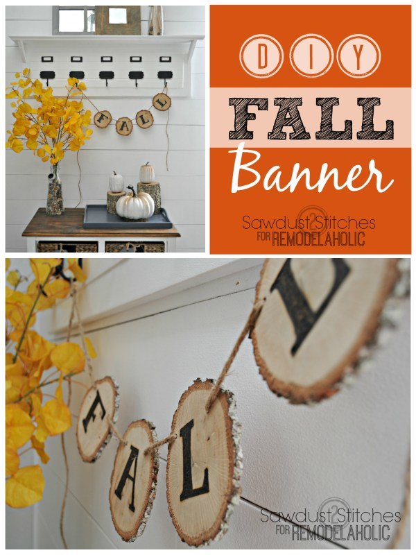 DIY rustic fall garland. Using wood slices and a wood burner. sawdust2stitches for Remodelaholic.com