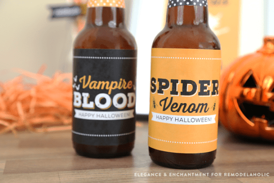 Free Printable Halloween Party Bottle Labels - four different designs for use on wine, beer, pop/soda bottles and more. An easy DIY way make your Halloween party a little more festive! Designs by Elegance and Enchantment for Remodelaholic.