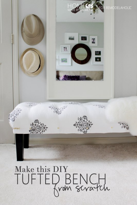 How to make this DIY tufted bench from scratch - HomeMadebyCarmona for Remodelaholic