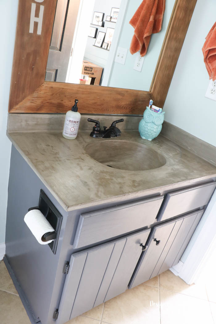 Tasha Designer Trapped Diy Concrete Countertop Feather Finish Bathroom  Vanity With Integral Sink