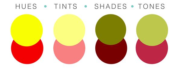 There are four basic types of color; hues, shades, tints, and tones.