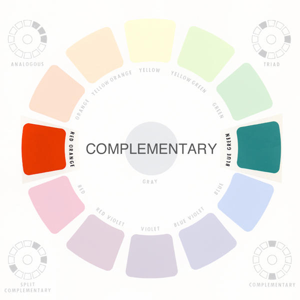 What are complementary colors? Two colors opposite each other on the color wheel.