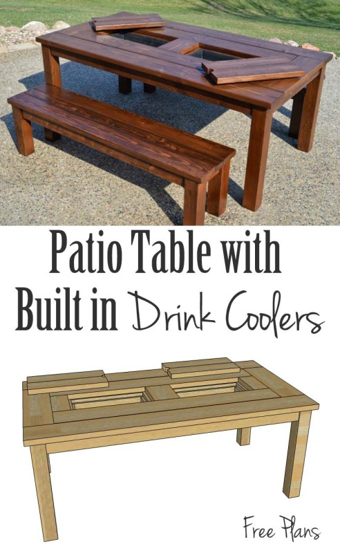 Free building plans for the perfect table for your patio, it has built-in ice boxes to keep your drinks cool!