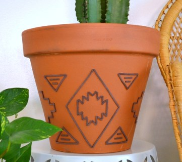 Tribal Inspired Suede Embellished Terracotta Planter