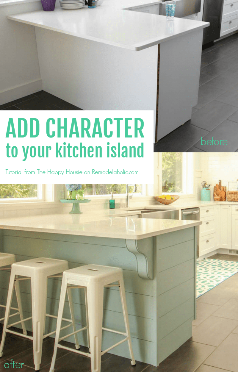 Remodelaholic update a plain kitchen island or peninsula with add character to your kitchen island or peninsula by adding planks for shiplap texture and corbels solutioingenieria Image collections