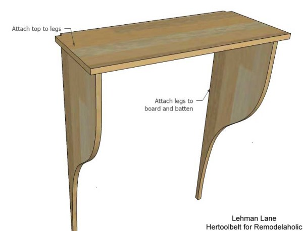 Built in Entry Table - attach top to legs