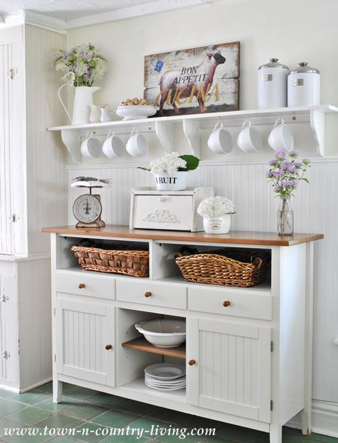 Farmhouse Kitchen Inspiration -- this open shelving with mug storage is perfect!