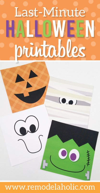With Halloween just around the corner, it's time to decorate! Use this freebie quick and easy Halloween printable set to add a bit of festive decor to any corner. Features a jack o'lantern, ghost, mummy, and Frankenstein's monster.