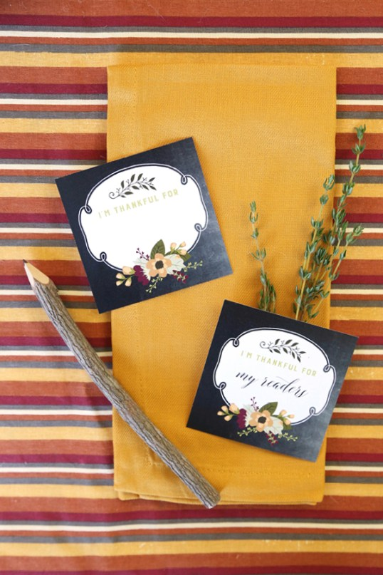 "Put your gratitude on the table with these beautiful free printable ""I am thankful for"" Thanksgiving cards. Perfect for hanging on the wall or on the mantel, too."