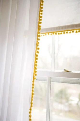 add pom pom trim white curtains shade