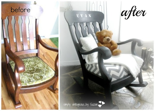 before and after rocking chair makeover Simply Vintageous