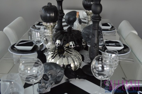 black and silver pumpkin and mercury glass tablescape Celebrate and Decorate