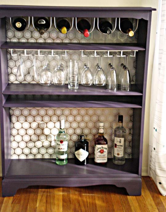 bookcase turned bar