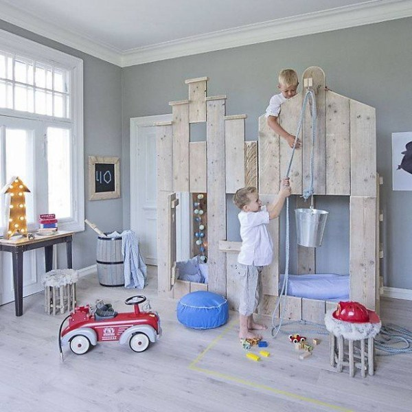 boys playhouse loft bed with window and door via bestkiddos
