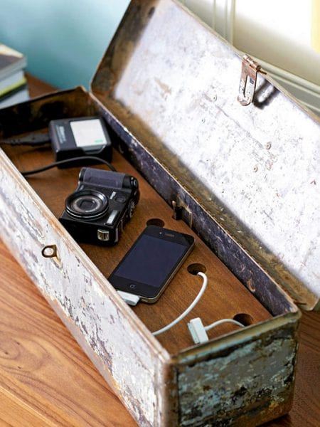 diy charging station antique toolbox by Midwest Living via Remodelaholic