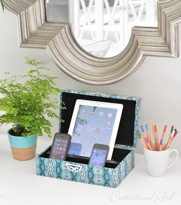 diy charging station decorative box