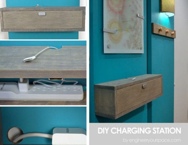 diy charging station wall mounted shelf by engineer your space featured on Remodelaholic