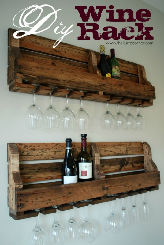 diy palette wine rack