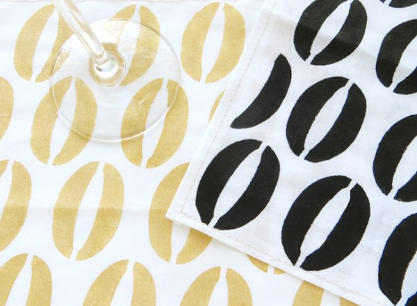 diy stenciled cocktail napkins