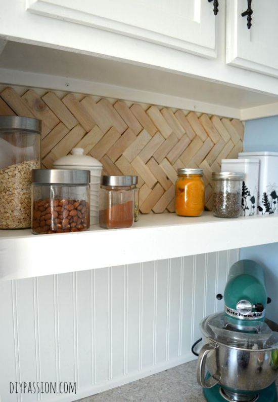 diy wood shim herringbone backsplash for open cabinet shelf DIY Passion