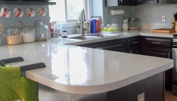 Remodelaholic | Glossy Painted Kitchen Counter Top Tutorial