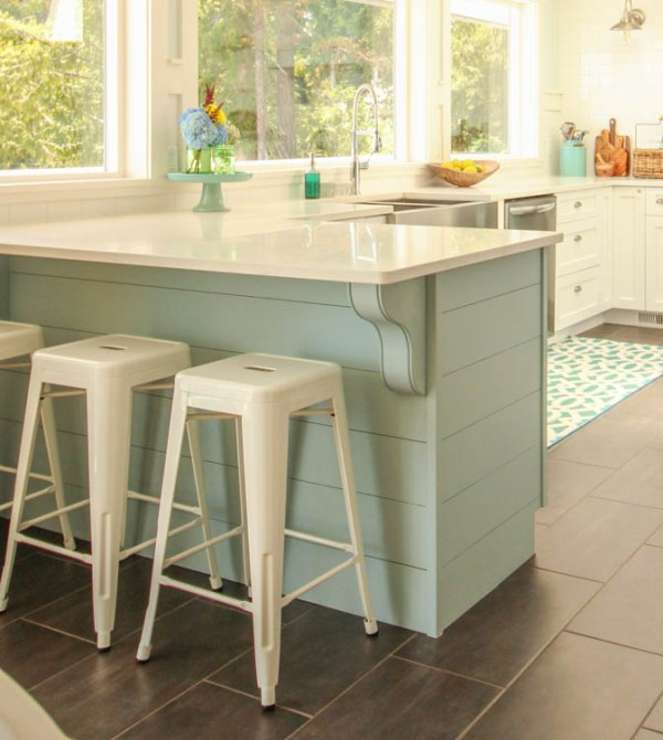 gorgeous coastal kitchen island makeover, with painted aqua planked penisula or island and corbels, The Happy Housie on @Remodelaholic
