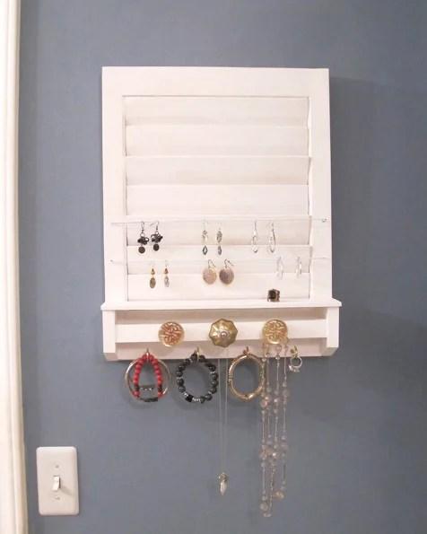 old shutter repurposed into jewelry holder White Tulip Designs
