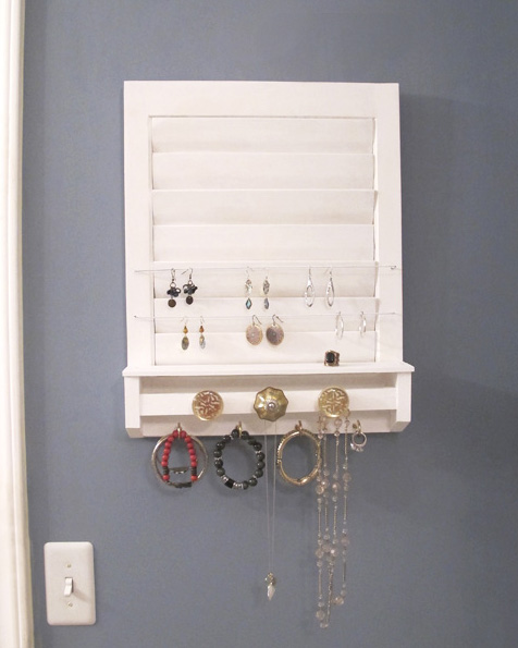 old shutter repurposed into jewelry holder White Tulip Designs